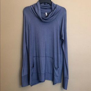My Beloved Blue Striped Cowl Neck Tunic Size Large